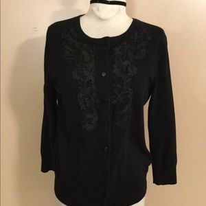 Black embroidered lace cardigan cable & Gauge LG